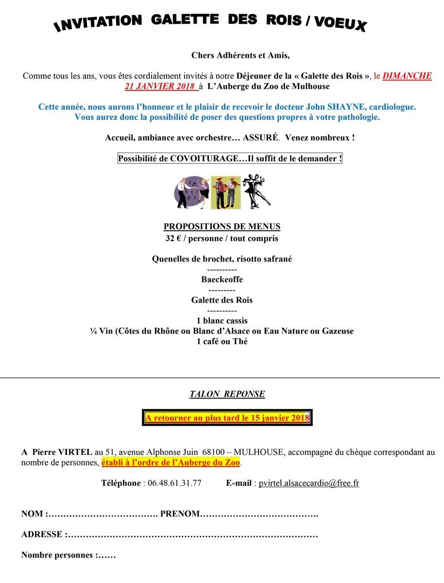 Alsace cardio invitation galette des rois 2018